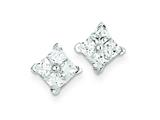 Sterling Silver Cubic Zirconia Square Post Earrings style: QE4949