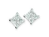 Sterling Silver Cubic Zirconia Large Square Post Earrings style: QE4950