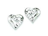 Sterling Silver Cubic Zirconia Heart Earrings style: QE4955