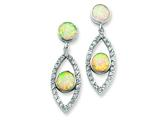 Sterling Silver Created Opal and Cubic Zirconia Post Earrings style: QE4967