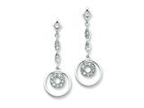 Sterling Silver Circle Cubic Zirconia Dangle Post Earrings style: QE4991
