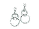 Sterling Silver Cubic Zirconia Circle Post Earrings style: QE4994