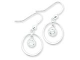 Sterling Silver Circle Dangle Clear Cubic Zirconia Earrings style: QE4997