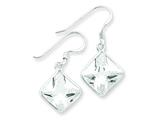 Sterling Silver Square Clear Cubic Zirconia Earrings style: QE5001
