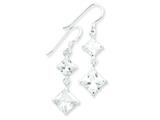 Sterling Silver Square Clear Cubic Zirconia Dangle Earrings style: QE5002