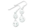Sterling Silver Clear Cubic Zirconia Dangle Earrings style: QE5003