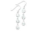 Sterling Silver Round Clear Cubic Zirconia Dangle Earrings style: QE5004