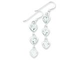 Sterling Silver Clear Cubic Zirconia Hearts Dangle Earrings style: QE5005