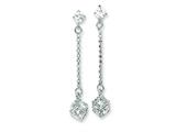 Sterling Silver Cubic Zirconia Dangle Post Earrings style: QE5021