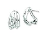 Sterling Silver Cubic Zirconia Omega Back Earrings style: QE5039