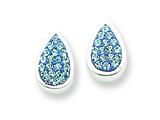 Sterling Silver Blue Cubic Zirconia Teardrop Post Earrings style: QE5053