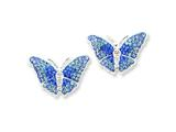Sterling Silver Blue Cubic Zirconia Butterfly Post Earrings style: QE5061