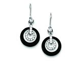 Sterling Silver Black Onyx Circle Cubic Zirconia Earrings style: QE5141