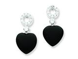 Sterling Silver Black Heart Cubic Zirconia Earrings style: QE5142