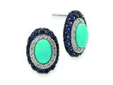 Sterling Silver Turquoise and Blue Cubic Zirconia Post Earrings style: QE5146