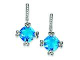 Sterling Silver Blue and Clear Cubic Zirconia Post Earrings style: QE5149