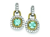 Sterling Silver Vermeil Blue Cubic Zirconia Earrings style: QE5151