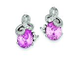 Sterling Silver Pink Cubic Zirconia Post Earrings style: QE5166