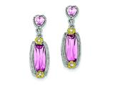 Sterling Silver Vermeil Pink Cubic Zirconia Dangle Post Earrings style: QE5169