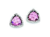 Sterling Silver Pink Cubic Zirconia Trillion Post Earrings style: QE5181