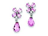 Sterling Silver Pink Cubic Zirconia Post Earrings style: QE5182