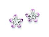 Sterling Silver Pink Cubic Zirconia Star Post Earrings style: QE5185