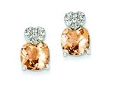 Sterling Silver Champagne Cubic Zirconia Post Earrings style: QE5187
