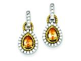 Sterling Silver Vermeil Champagne Cubic Zirconia Earrings style: QE5189
