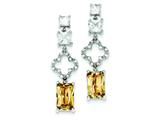 Sterling Silver Champagne and Clear Cubic Zirconia Earrings style: QE5194
