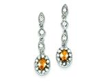 Sterling Silver Champagne and Clear Cubic Zirconia Post Earrings style: QE5195