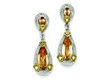Sterling Silver and Vermeil Champagne Cubic Zirconia Post Earrings style: QE5199