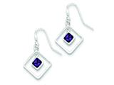 Sterling Silver Diamond Shaped Purple Cubic Zirconia Earrings style: QE5243