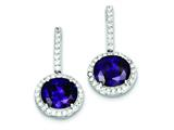 Sterling Silver Purple and Clear Cubic Zirconia Post Earrings style: QE5244