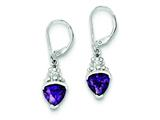 Sterling Silver Purple Cubic Zirconia Leverback Earrings style: QE5246