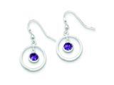 Sterling Silver Circle Dangle Purple Cubic Zirconia Earrings style: QE5247
