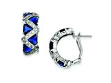Sterling Silver Dark Blue Cubic Zirconia Omega Back Earrings style: QE5258