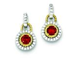 Sterling Silver Vermeil Dark Red Cubic Zirconia Earrings style: QE5266