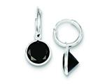 Sterling Silver Black Cubic Zirconia Dangle Hoop Earrings style: QE5278