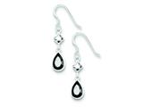 Sterling Silver Black Cubic Zirconia Dangle Earrings style: QE5285