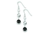 Sterling Silver Clear, Smokey and Black Cubic Zirconia Dangle Earrings style: QE5287