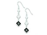 Sterling Silver Clear And Black Cubic Zirconia Dangle Earrings style: QE5290