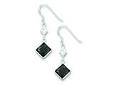 Sterling Silver Clear and Black Cubic Zirconia Dangle Earrings style: QE5291