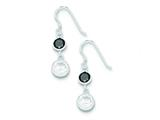 Sterling Silver Black and Clear Cubic Zirconia Dangle Earrings style: QE5294