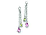 Sterling Silver Multicolor Cubic Zirconia Dangle Post Earrings style: QE5298