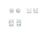 Sterling Silver 3 Pair Set Cubic Zirconia Earrings style: QE5361SET