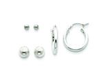 Sterling Silver Sm and Lg Bead and Hoop Set Earrings style: QE5362SET
