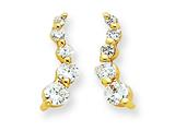 Sterling Silver Vermeil Cubic Zirconia Journey Earrings style: QE5372