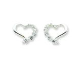 Sterling Silver Cubic Zirconia Heart Journey Earrings style: QE5373