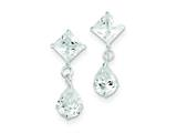 Sterling Silver Clear Cubic Zirconia Dangle Earrings style: QE5416
