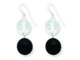 Sterling Silver 11mm Faceted Clear Crystal and 14mm Onyx Bead Earrings style: QE5471